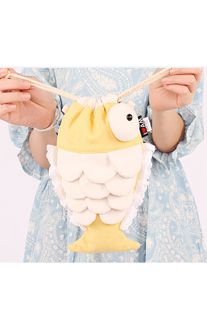 Cute Fish Canvas Handbag Clutch In Yellow