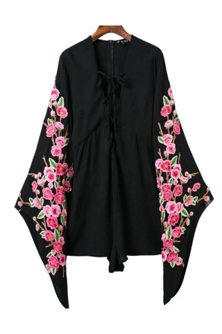 Floral Embroidered Flare Sleeve Romper
