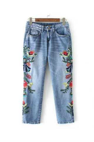 Vintage Floral Embroidery Ankle Jeans