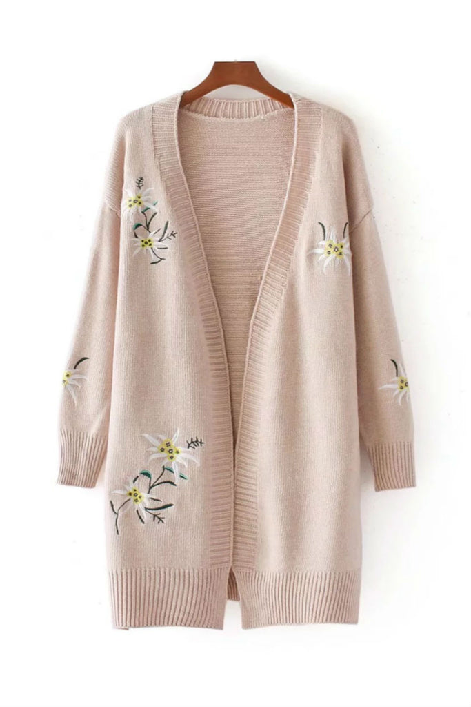 Retro Floral Embroidery Cardigan
