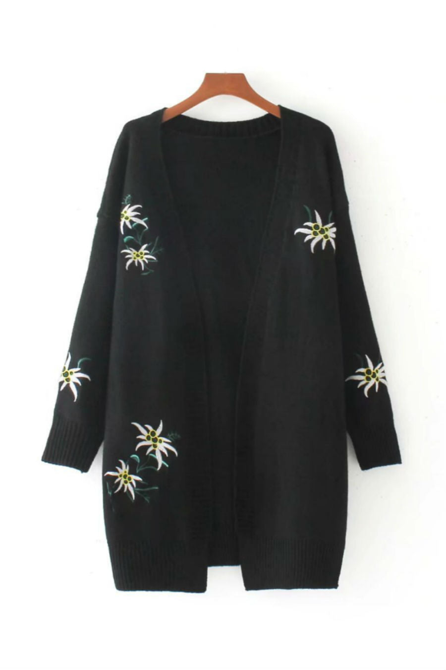 Black Floral Embroidery Cardigan
