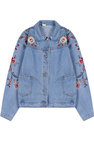 Chic Floral Embroidery Denim Jacket