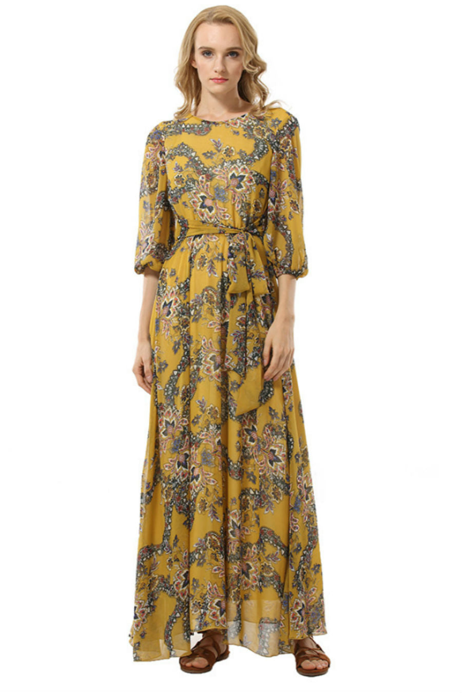 Yellow Boho Floral Dress