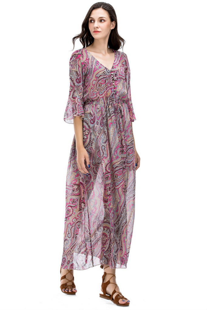 Paisley V-neck Maxi Dress