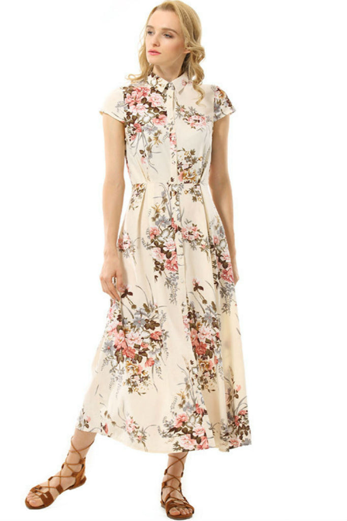 Single-breasted Floral Dress