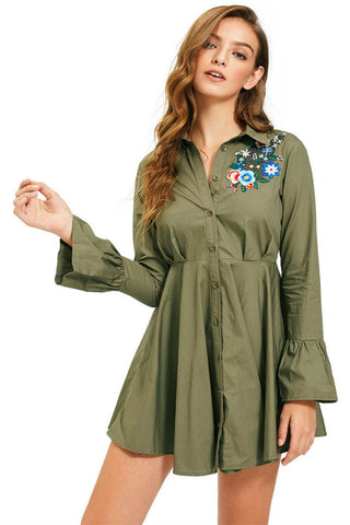 Floral Long Sleeve Shirt Dress