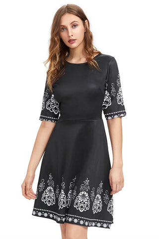 Fit And Flare Black Floral Dress