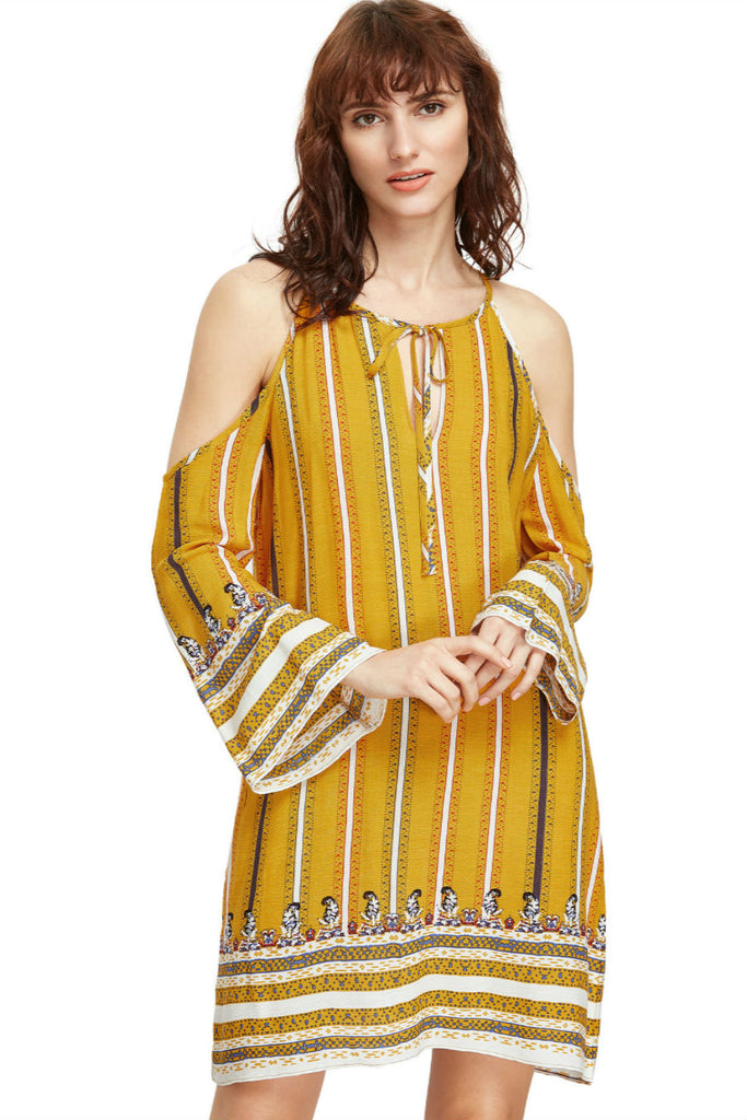 Yellow Striped Cold Shoulder Dress