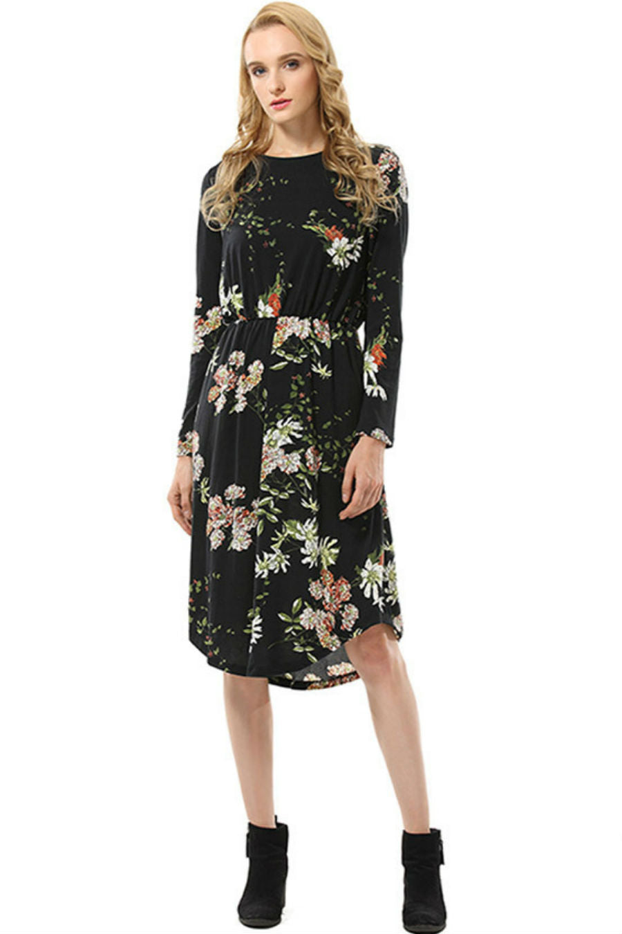 Drawstring Waisted Floral Dress
