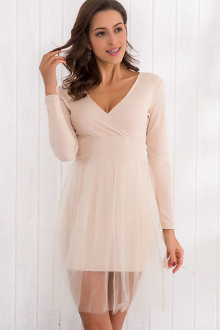 Mesh Stitching Knitted Dress