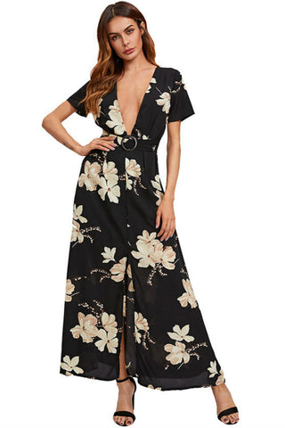 Deep V-neck Floral Dress
