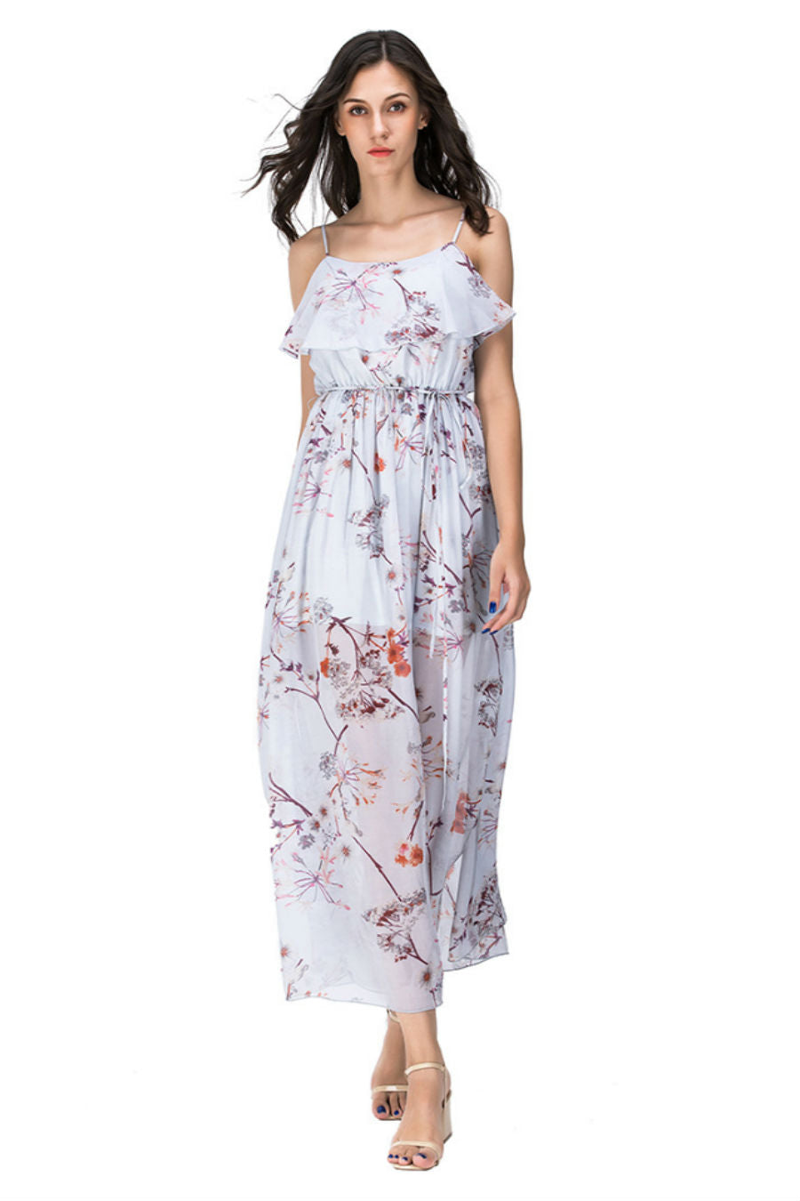 Blue Floral Strappy Maxi Dress