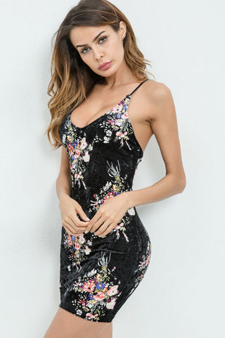 Back Open Floral Dress