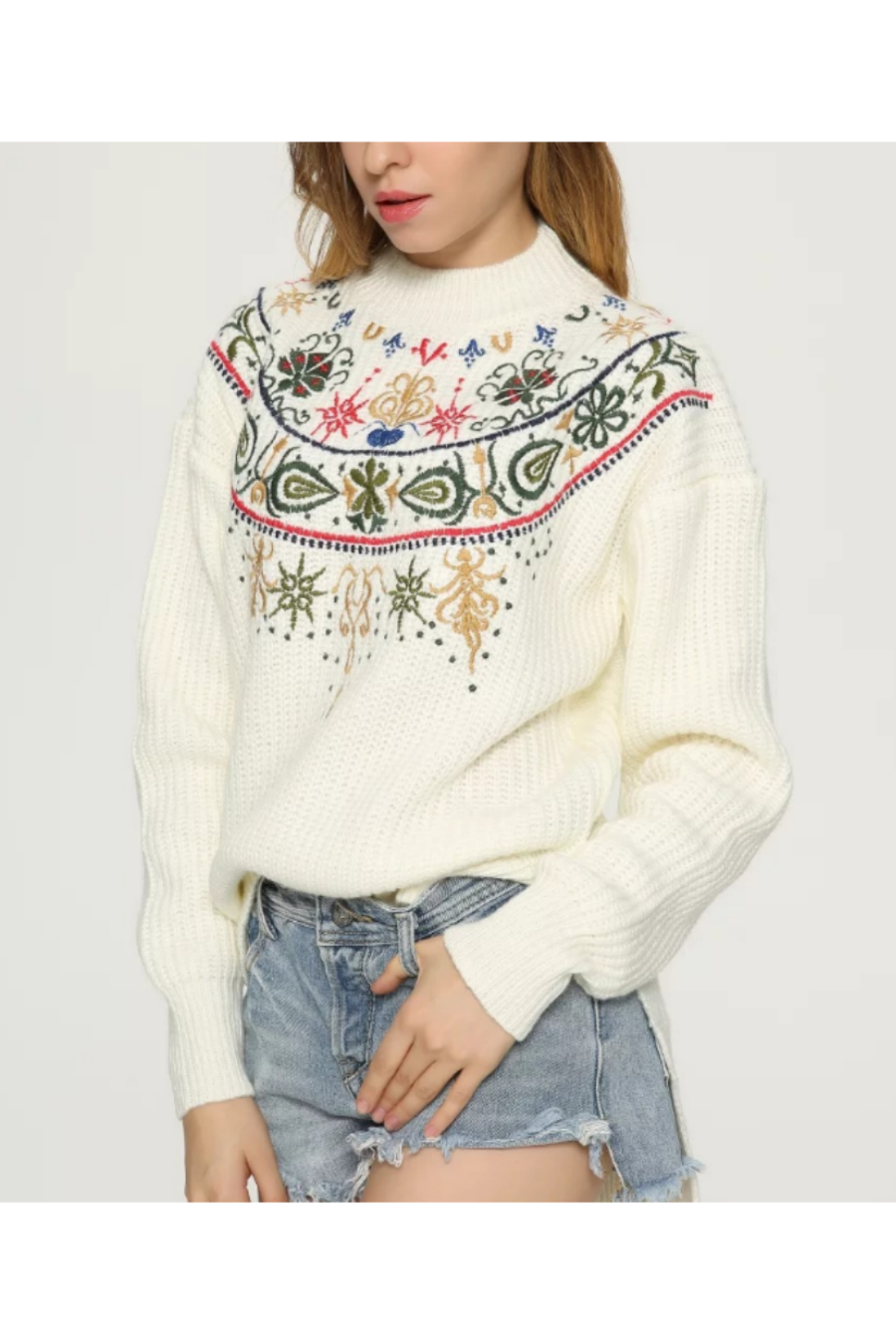 Floral Embroidery Asymmetric Sweater