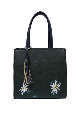 Floral Embroidery Tote Bag
