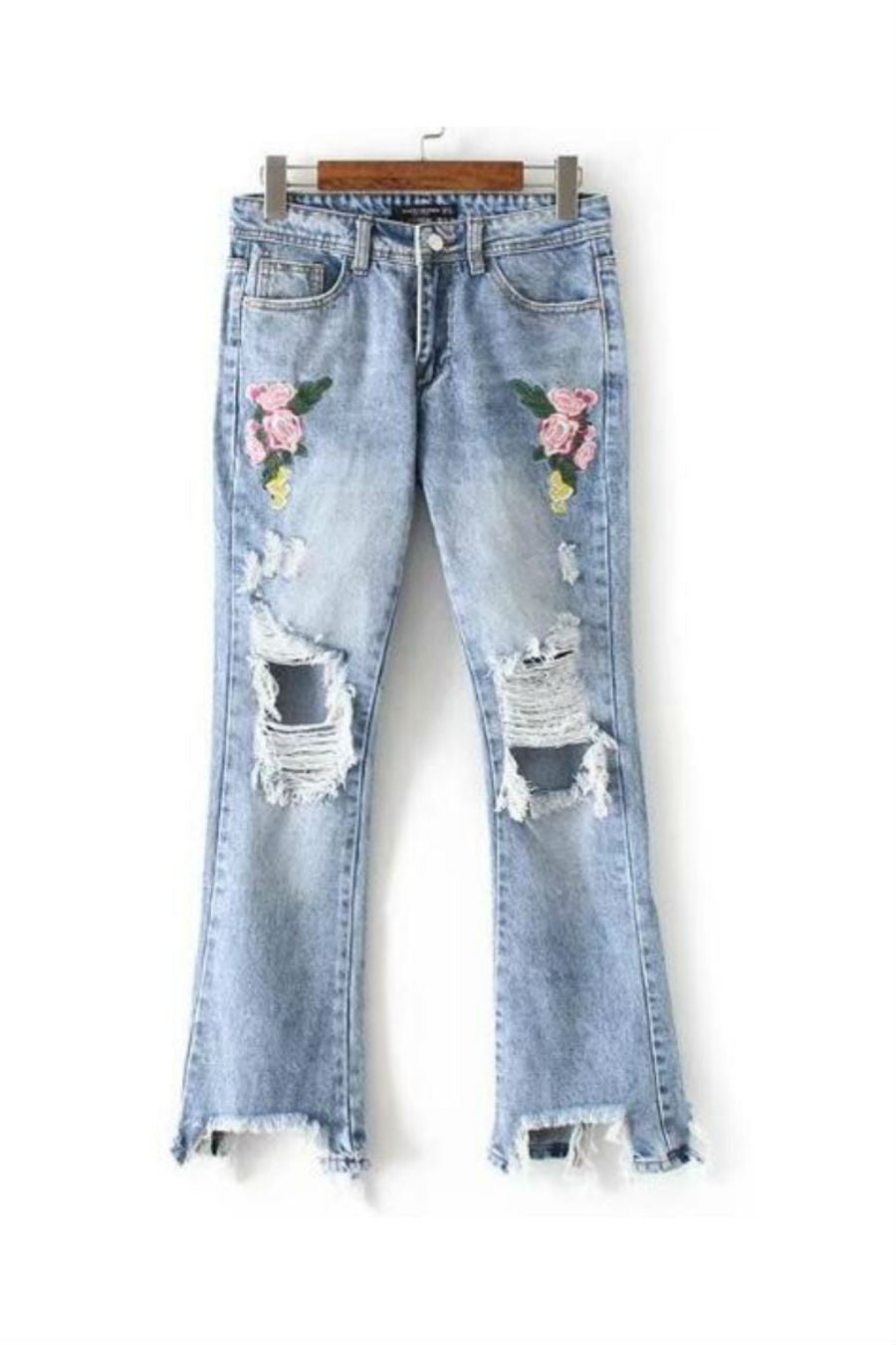 Floral Embroidered Ripped Jeans