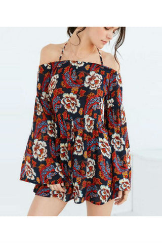 Chic Floral Off The Shoulder Romper