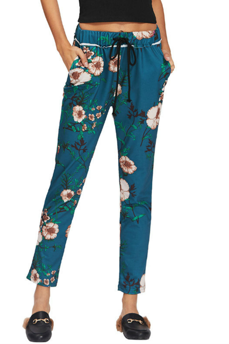 Drawstring Floral Ankle Pants