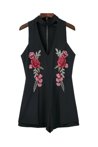 Black V-neck Floral Embroidered Romper