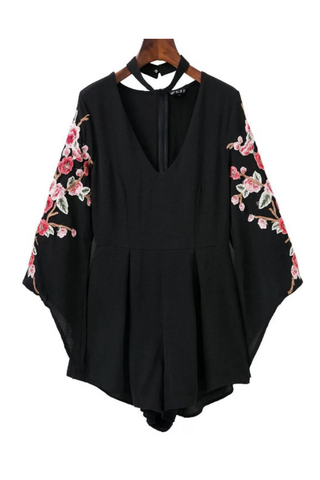 Chic V-neck Floral Embroidered Halter Romper In Black