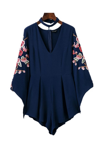 Chic V-neck Floral Embroidered Halter Romper In Navy