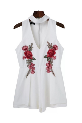 White V-neck Floral Embroidered Romper