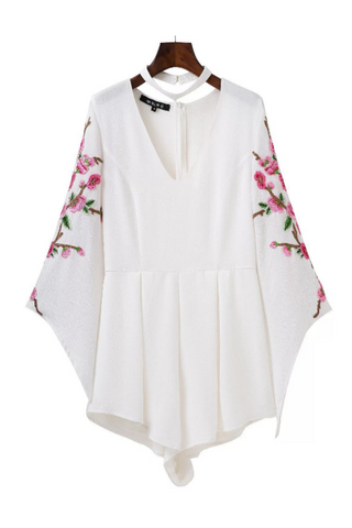 Chic V-neck Floral Embroidered Halter Romper In White