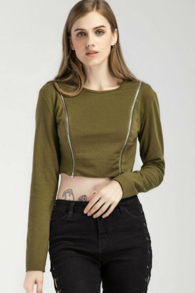 Double Zipper Cropped Top