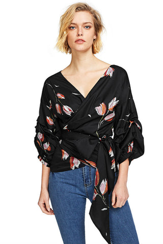 Floral Wrapped Shirt