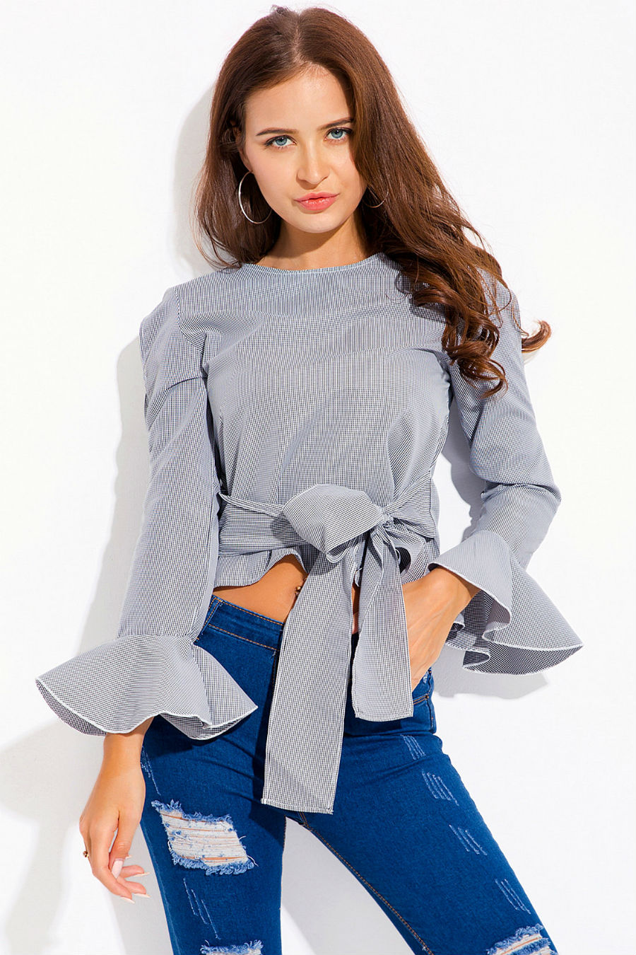 Tie Up Striped Shirt