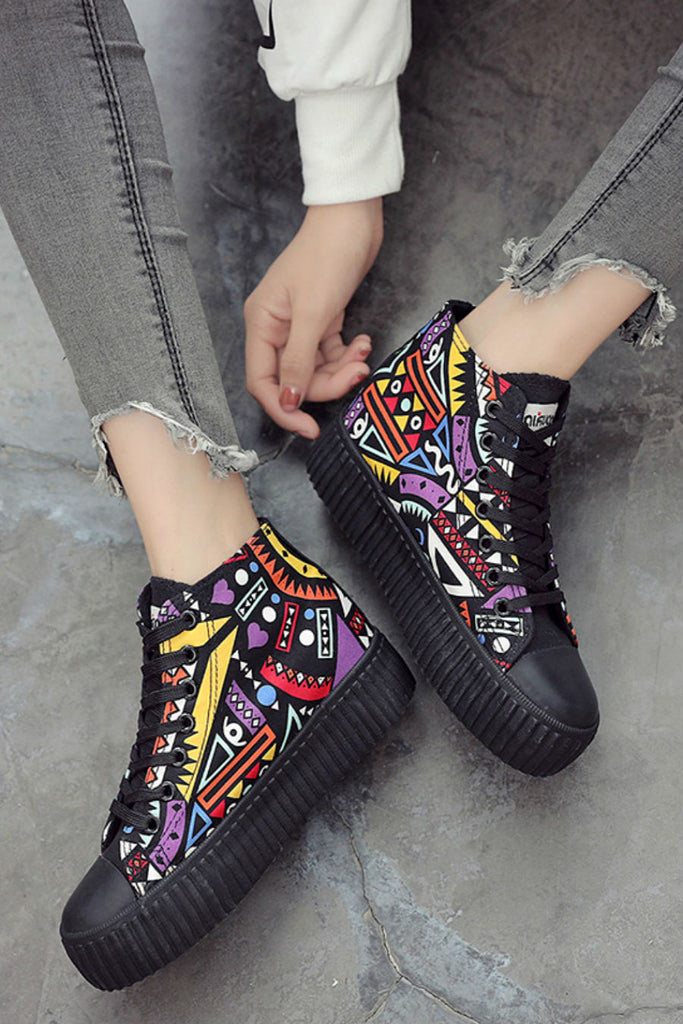 Graffiti High Top Platform Shoes