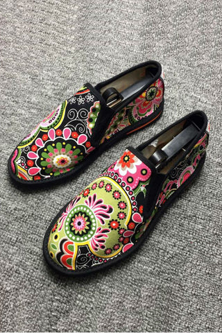 Floral Espadrilles Shoes Black