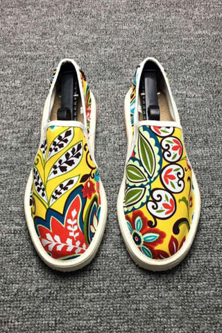 Floral Espadrilles Shoes Yellow