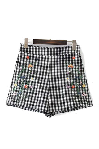 Flower Embroidered Grid Shorts