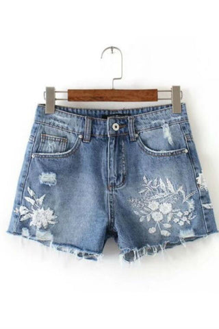 Flower Embroidery Ripped Denim Shorts