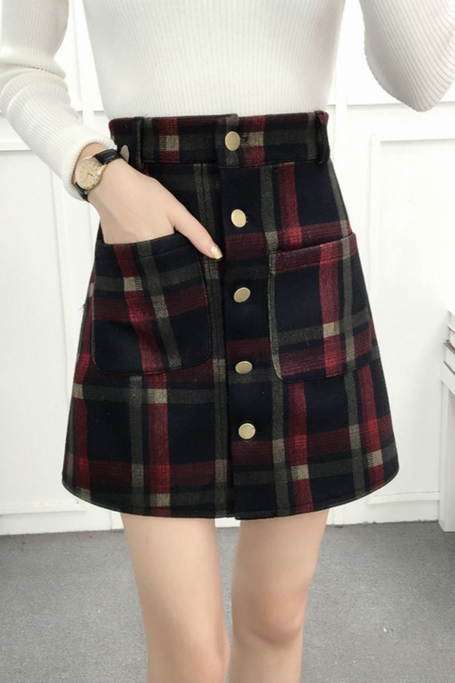 Woolen Red Plaid Skirt