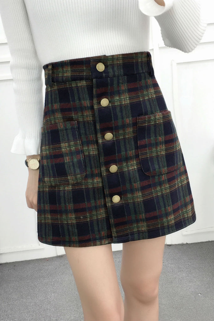 Woolen Green Plaid Skirt