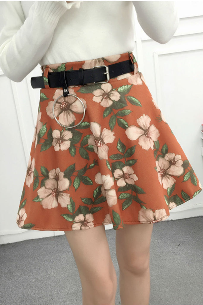 Vintage Brown Floral Skirt