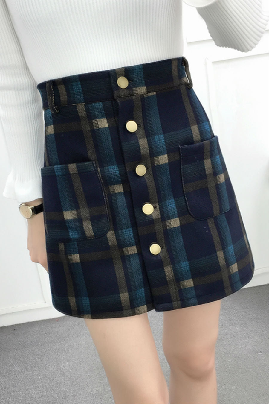 Woolen Blue Plaid Skirt