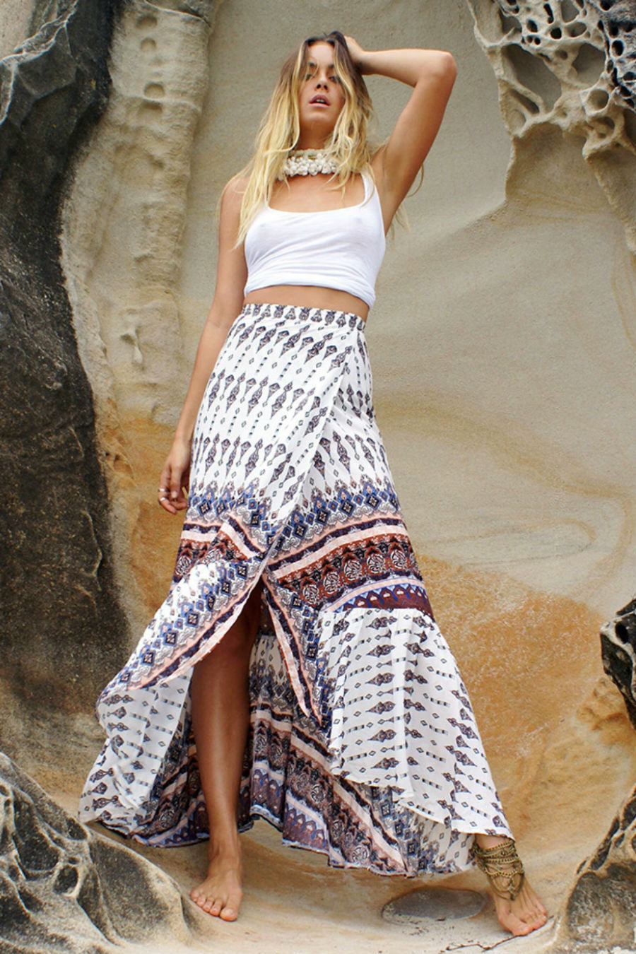 Wrapped White Bohemian Skirt