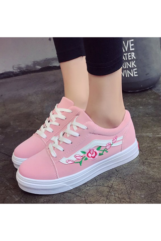 Lace Up Floral Sneakers