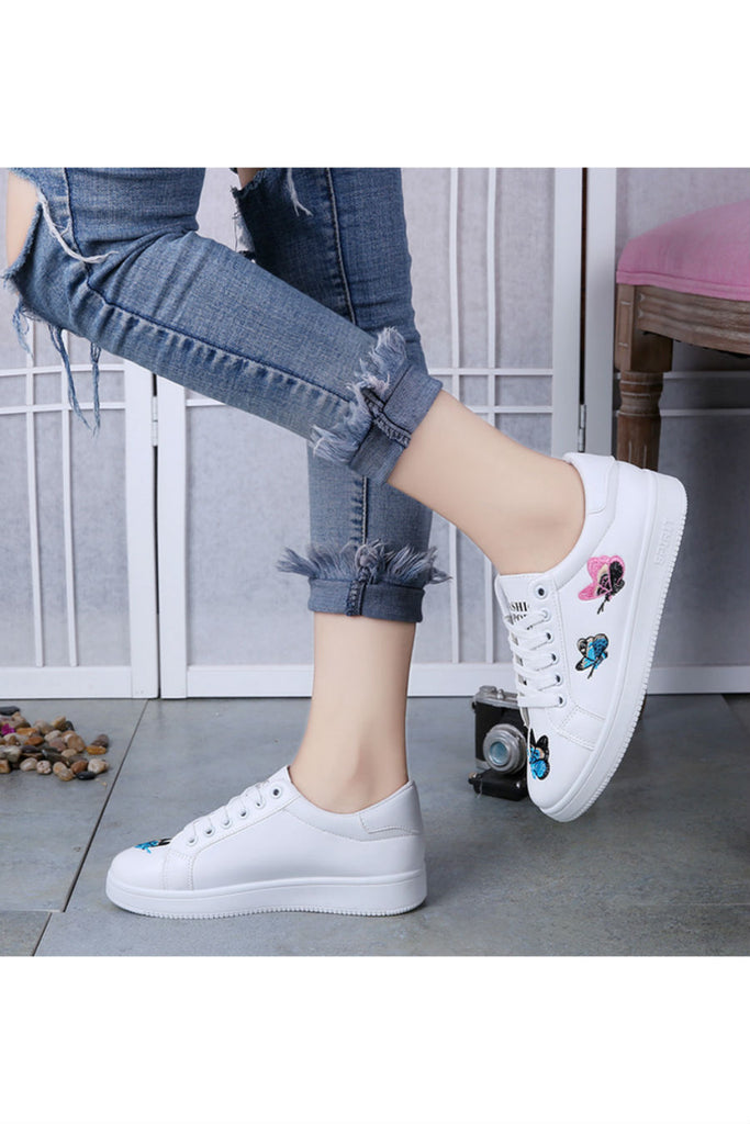 Butterfly Embroidery White Sneakers