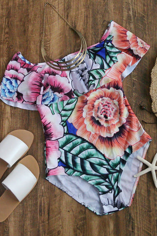Floral Print Ruffle One-Piece Swimwear
