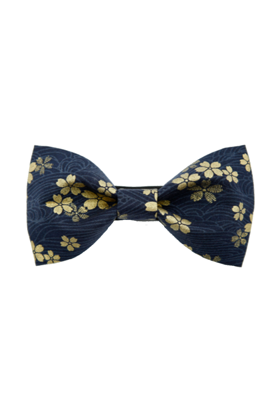 Sakura Printed Bow Tie In Navy