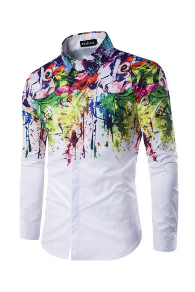Spring Painting Print White Shirt