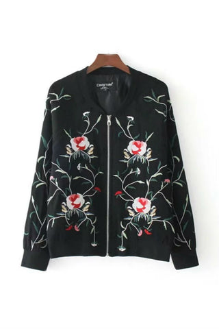 Black Floral Embroidery Jacket