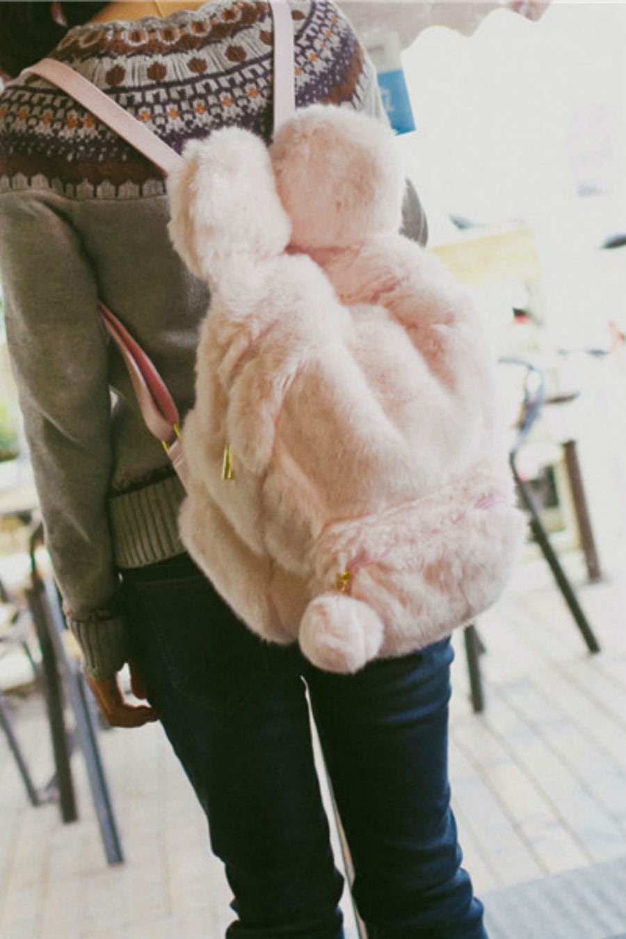 Fluffy Rabbit Ear Backpack