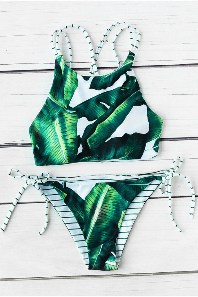 Foliage Print Side Tie Bikini Set