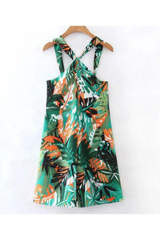 Green Foliage Printed Strappy Romper