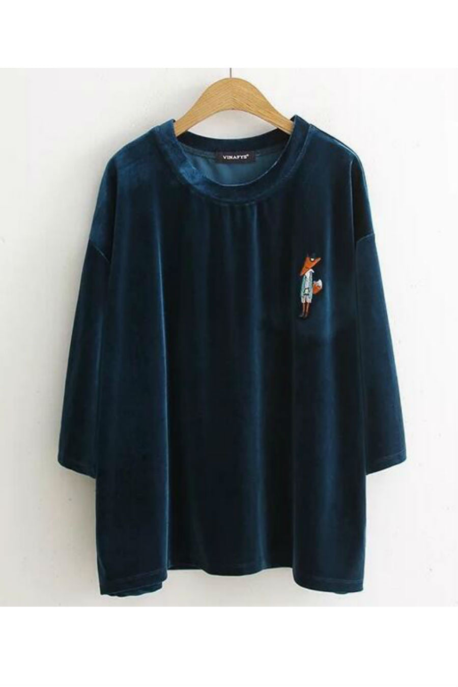 Fox Embroidered Velvet T-shirt